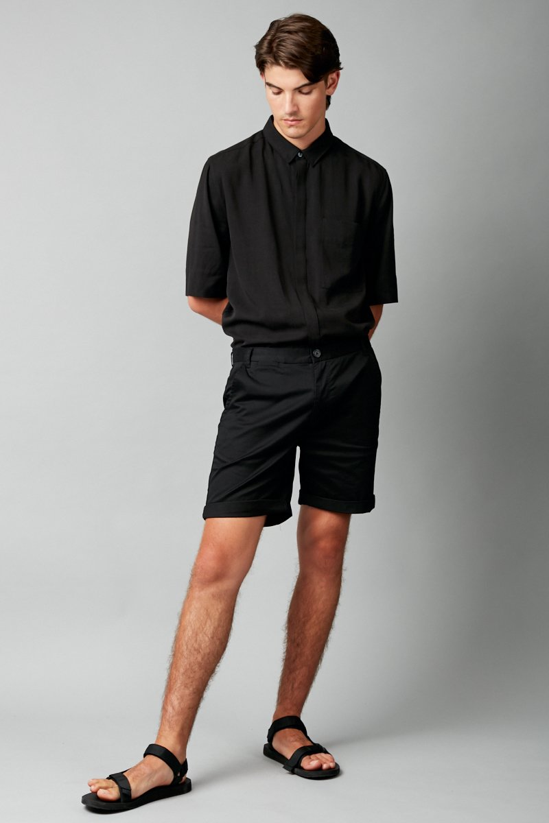 BLACK YAMAZAKI COTTON  SHORT - Nique Clothing