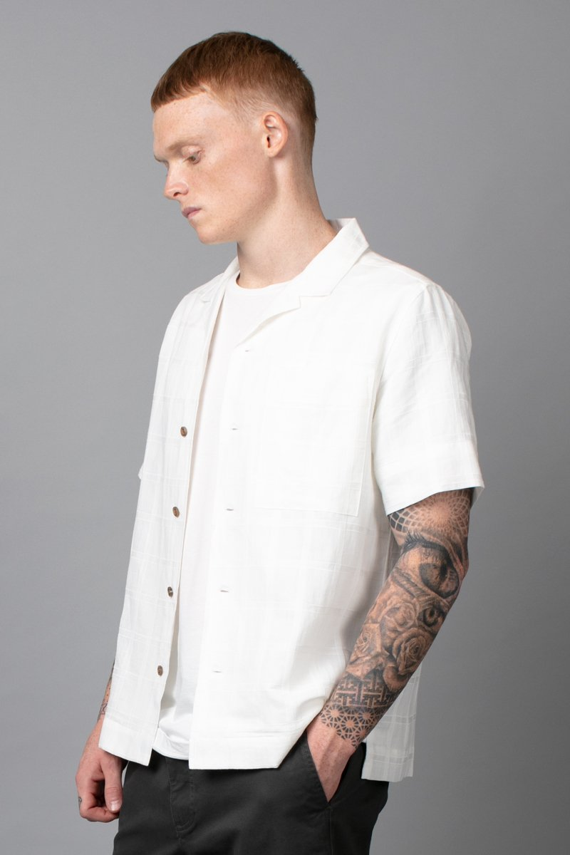 WHITE FLUX SHORT SLEEVE COTTON SHIRT