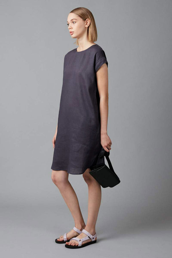 SMOKE BLUE HANAE LINEN DRESS