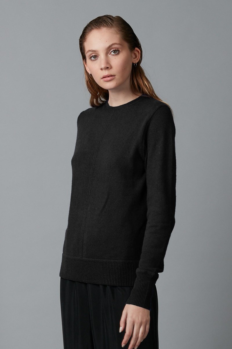 BLACK HIKARI COTTON WOOL BLEND KNIT - Nique Clothing