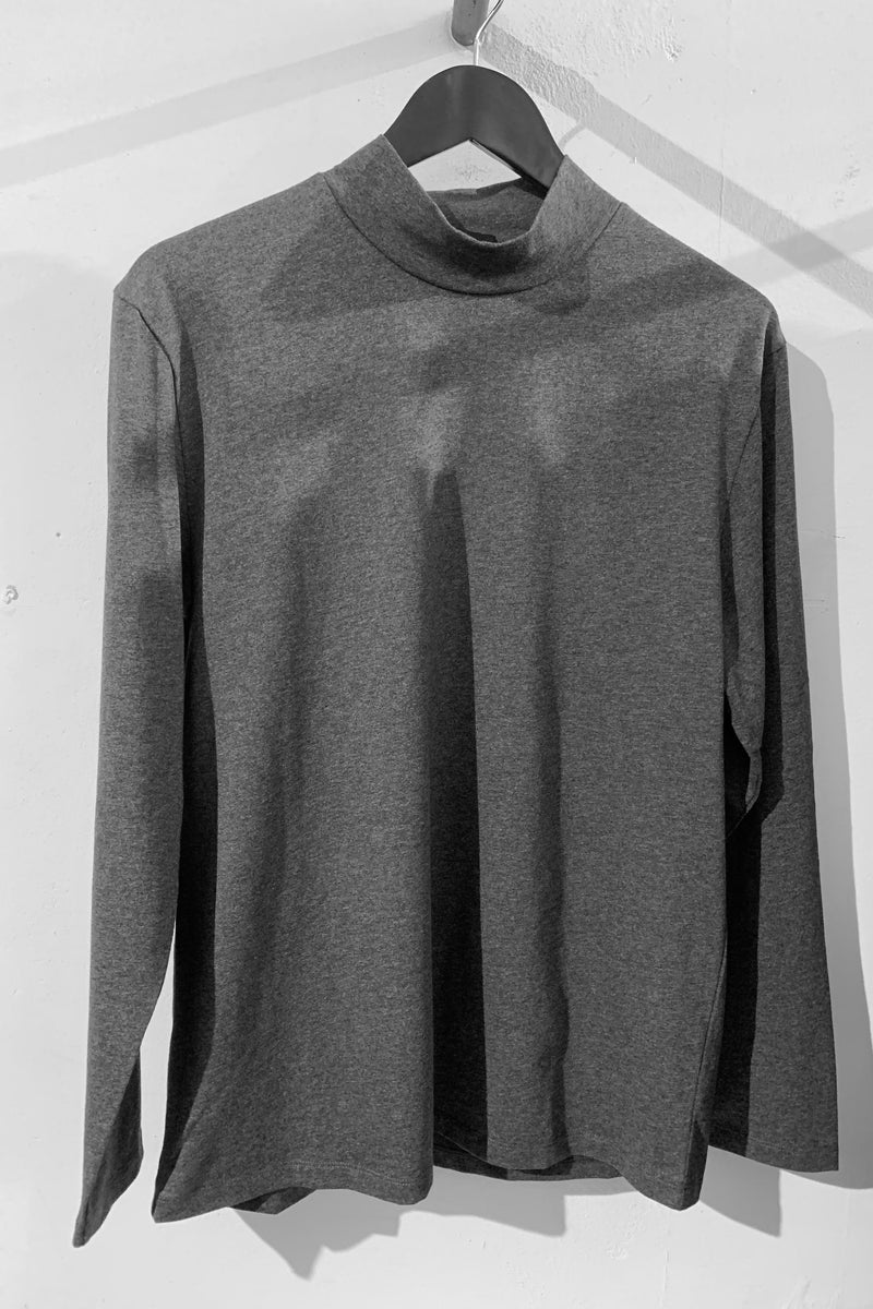 CHARCOAL MARLE RIKEN HIGH NECK LS TSHIRT - Nique Clothing