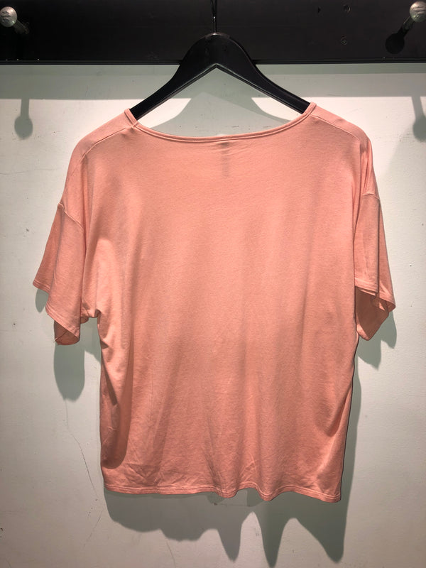 WOMENS SALMON BOXY BAMBOO COTTON TEE