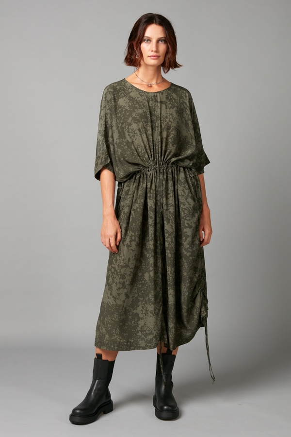 Khaki Clash Print Heiko Viscose Dress