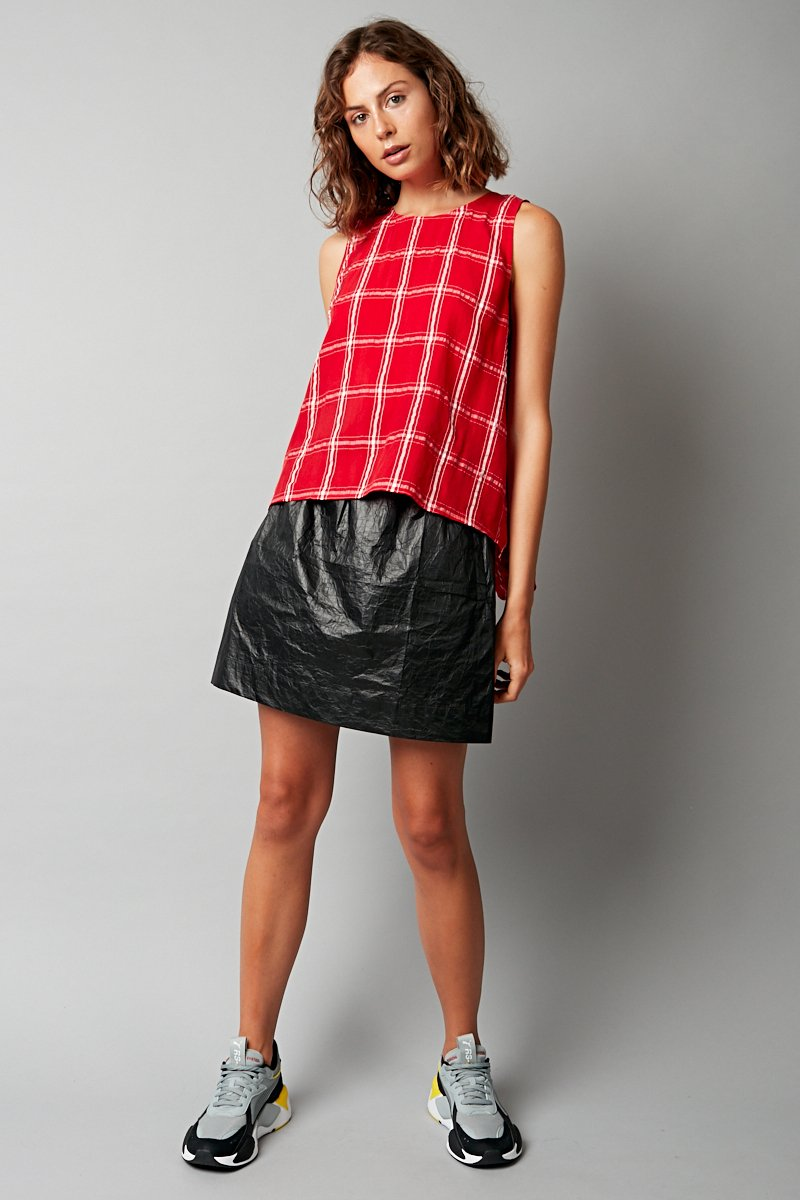 RED CHECK MIKO TANK TEE - Nique Clothing