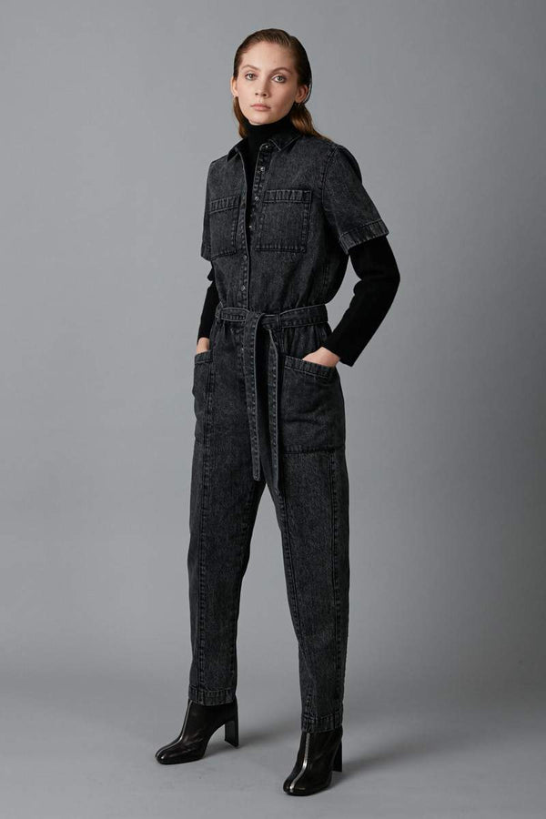 BLACK DACHI DENIM VIDEO WASH JUMPSUIT - Nique Clothing