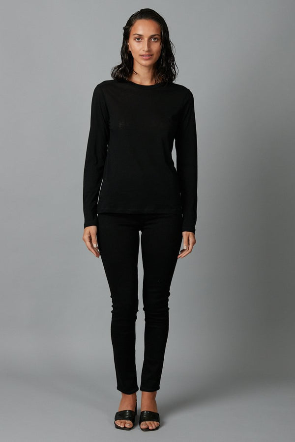 BLACK COTTON KAZOKO LONG SLEEVE TEE - Nique Clothing