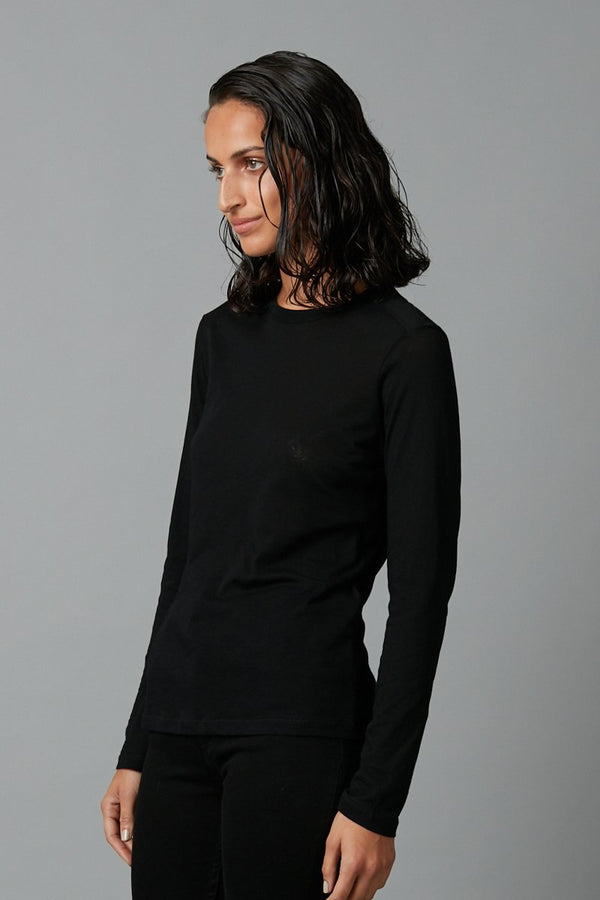 BLACK COTTON KAZOKO LONG SLEEVE TEE