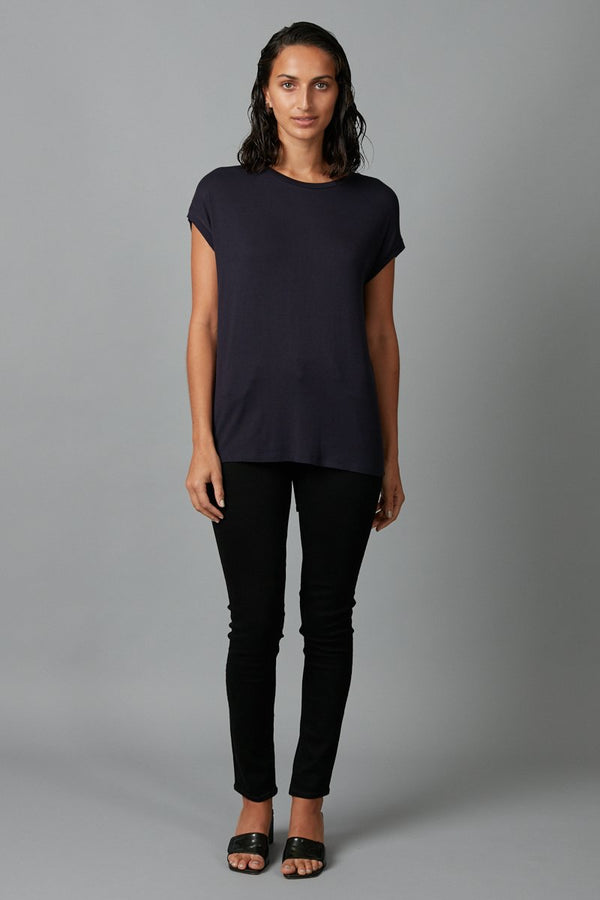 NAVY JIRO MODAL ELASTANE TEE - Nique Clothing