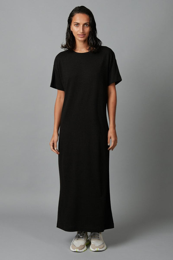BLACK JOBEN HEMP COTTON MIDI DRESS - Nique Clothing