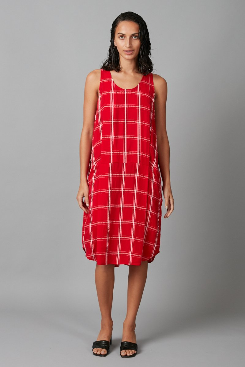 RED CHECK HIDEMI DRESS