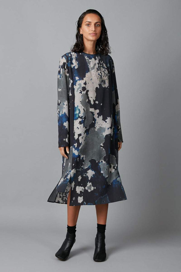 BLUE BIG SKY PRINT BLOCH PANELLED SILK DRESS - Nique Clothing
