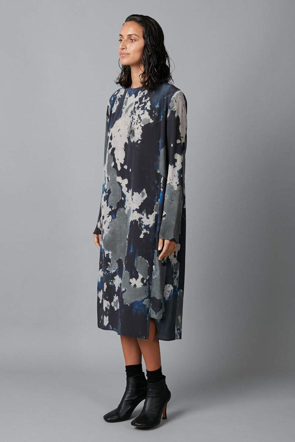 BLUE BIG SKY PRINT BLOCH PANELLED SILK DRESS