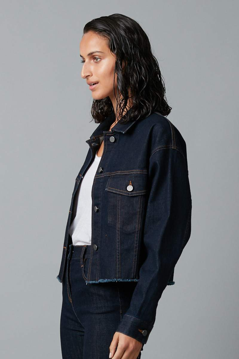 GRAPHIC WASH NATSU CROPPED DENIM JACKET