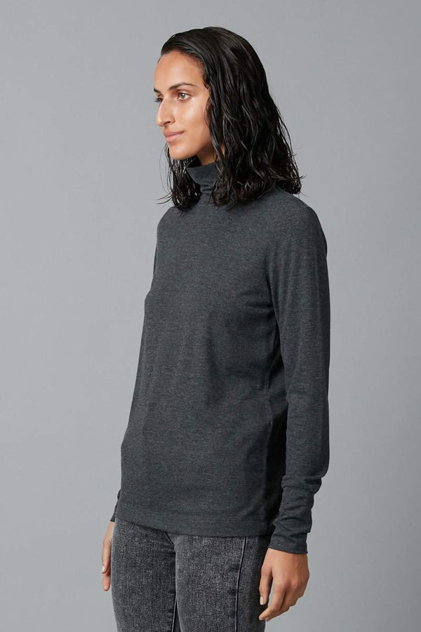 CHARCOAL KIMI VISCOSE ELASTANE TURTLENECK SKIVVY
