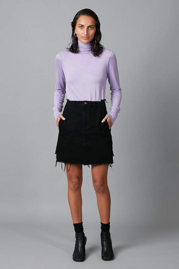 AGED BLACK SEIKO STEP HEM PANELLED DENIM SKIRT