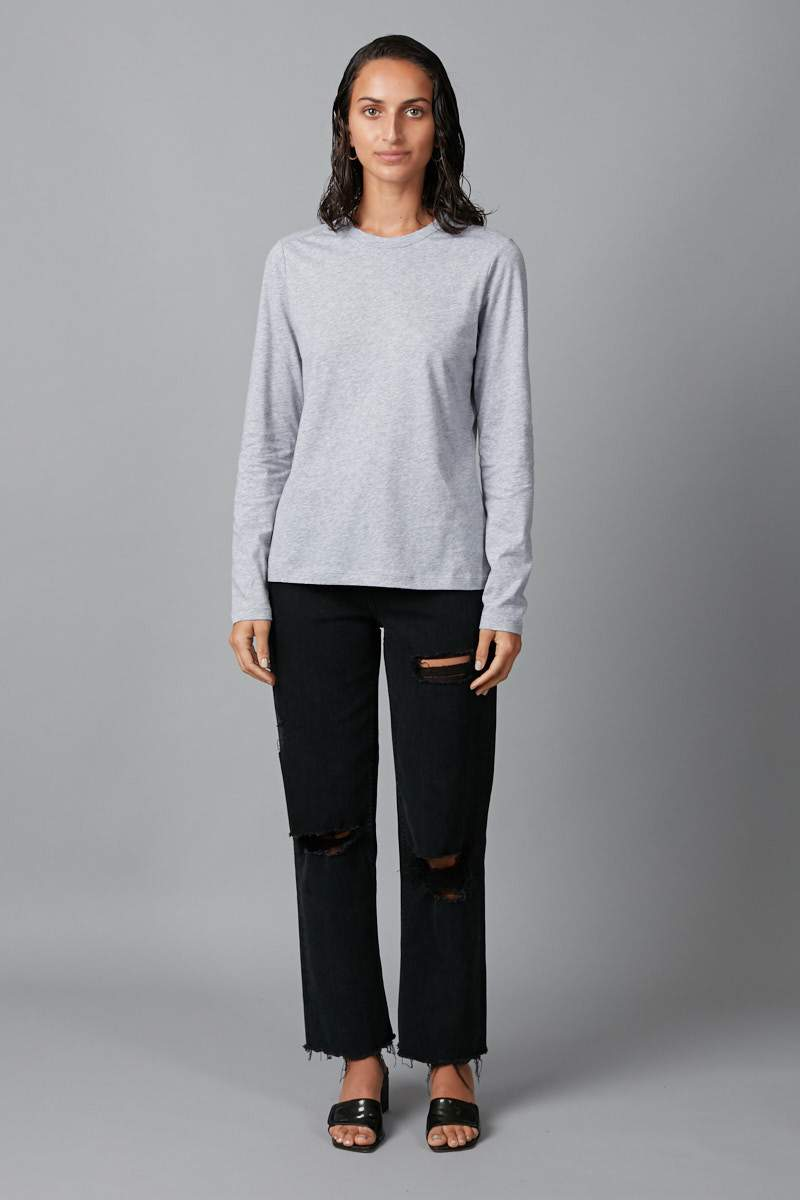 GREY MARL KAZOKO COTTON LONG SLEEVE TEE - Nique Clothing