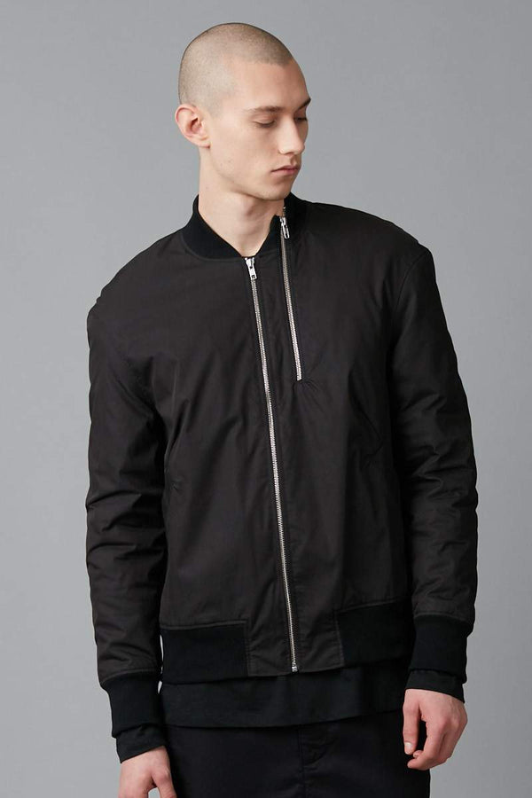 BLACK DOUBLE ZIP COTTON TENCEL BOMBER JACKET