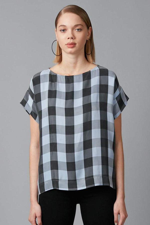 POWDER BLUE CHECK CUPRO HILO TOP - Nique Clothing