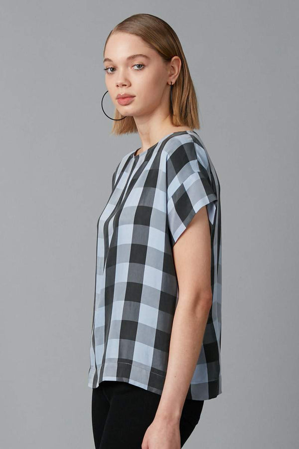 POWDER BLUE CHECK CUPRO HILO TOP