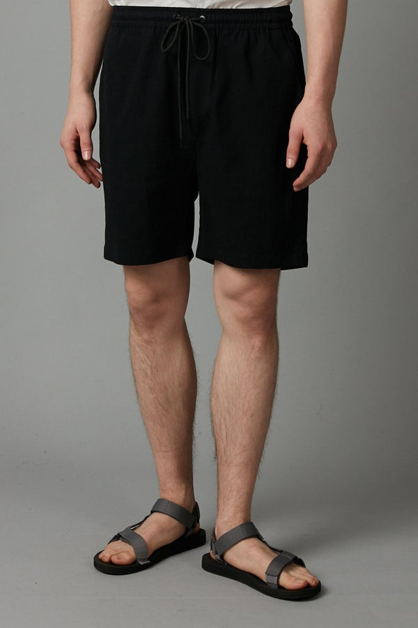 BLACK ISAMU COTTON SHORT - Nique Clothing