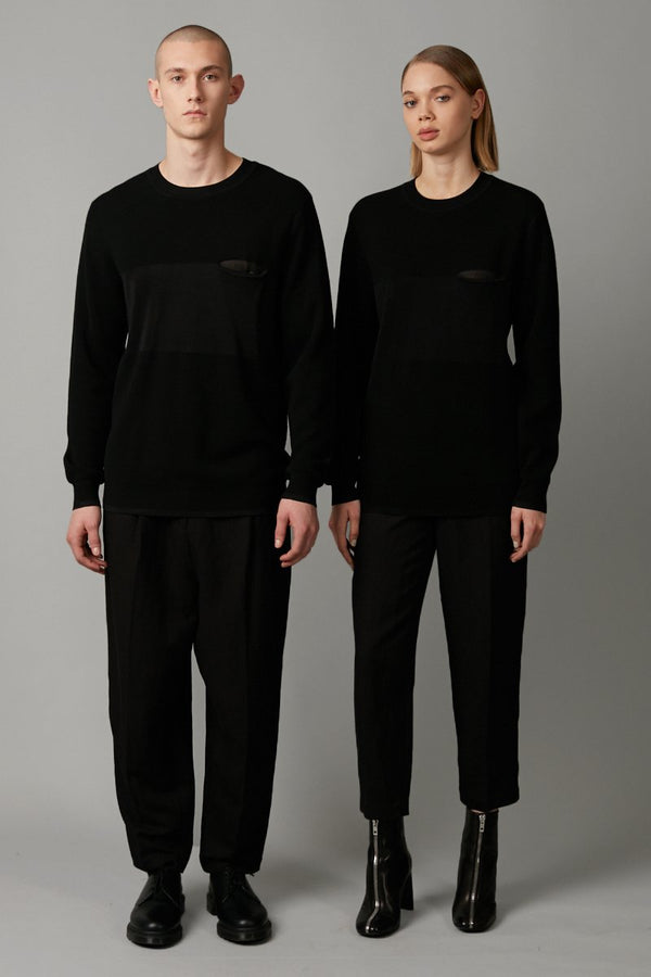BLACK ASANO UNISEX POCKET KNIT - Nique Clothing