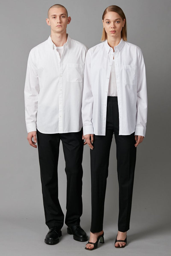 HAYAME UNISEX WHITE LONG SLEEVE COTTON SHIRT