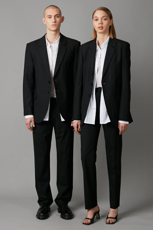 BLACK AMARI UNISEX WOOL SUIT JACKET - Nique Clothing