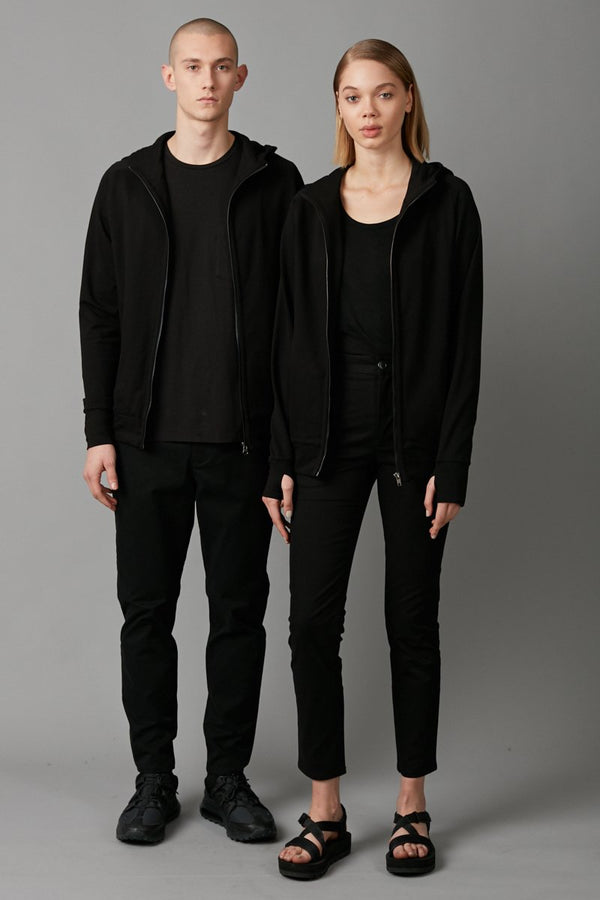 BLACK ANZU UNISEX ZIP THROUGH HOODIE