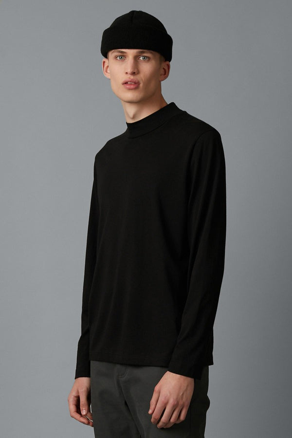 BLACK RIKEN MODAL COTTON HIGH NECK LS TSHIRT - Nique Clothing