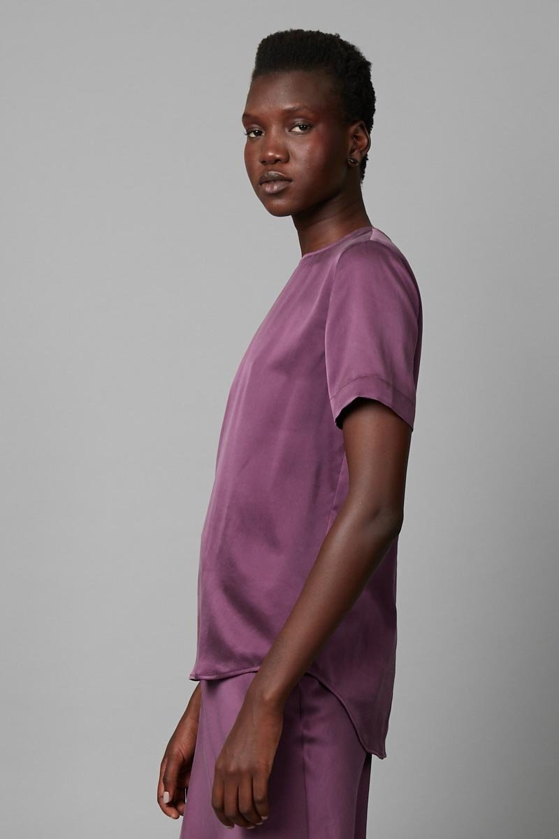 BLACKCURRANT SILK CHIE TEE - Nique Clothing