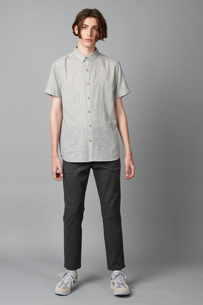 GREY TIVA SHORT SLEEVE COTTON SHIRT - Nique Clothing