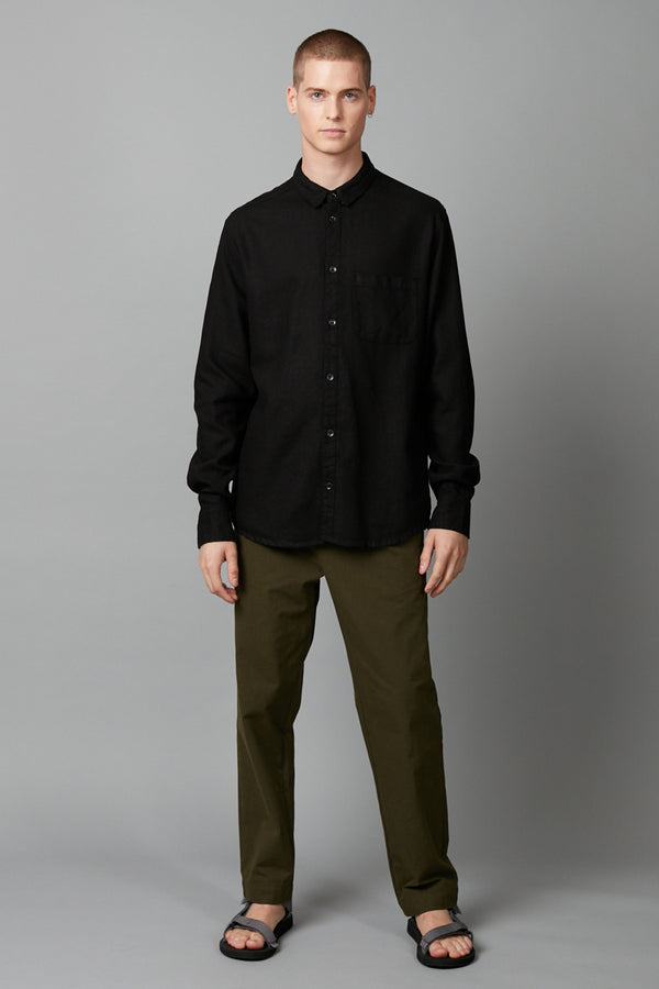 BLACK KANO LINEN COTTON REGULAR LONG SLEEVE SHIRT