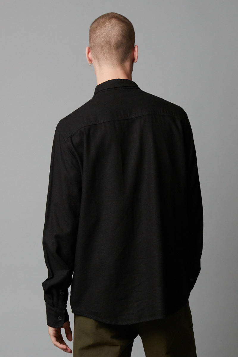 KANO BLACK LINEN BLEND LONG SLEEVE SHIRT