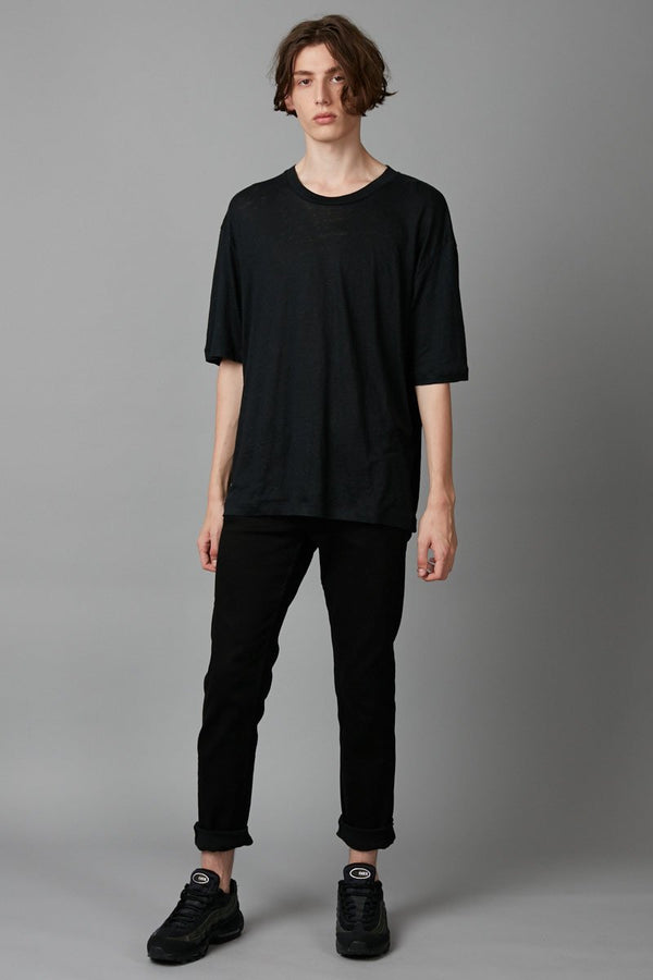 BLACK CASS LINEN TEE - Nique Clothing