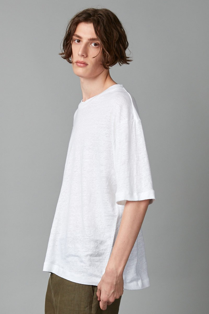WHITE CASS LINEN TEE - Nique Clothing