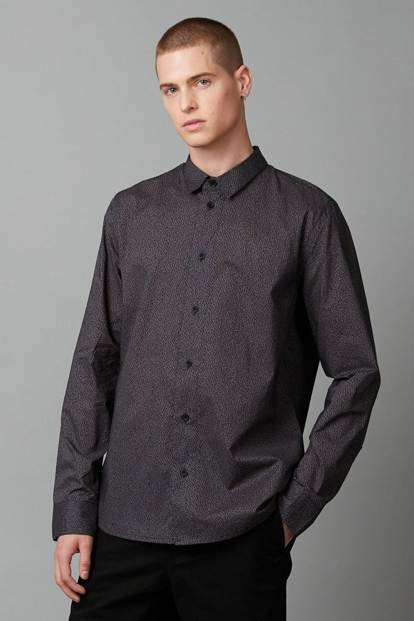 GREY ODYSSEY PRINT COTTON SLIM SHIRT