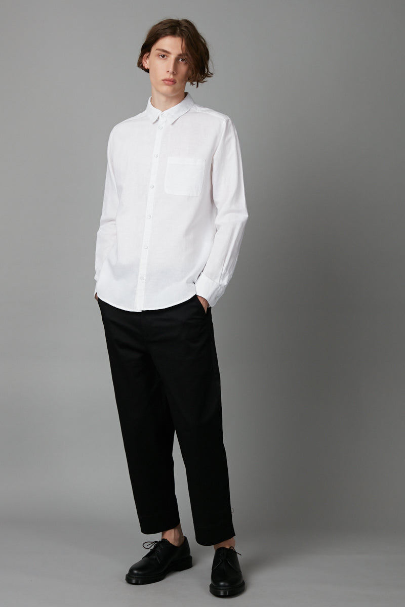 WHITE KANO LINEN COTTON REGULAR LONG SLEEVE SHIRT
