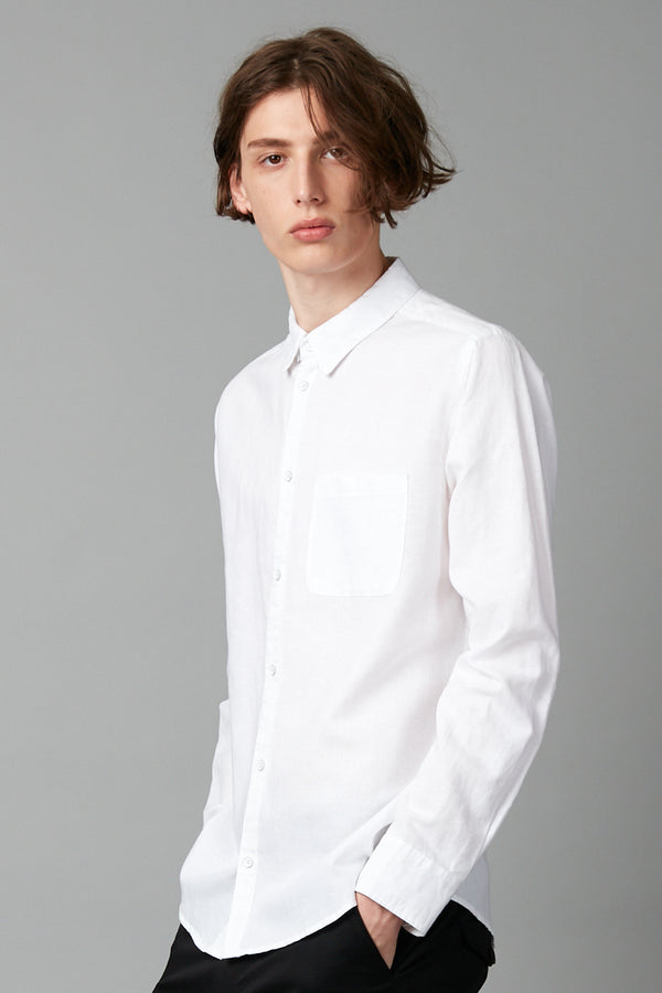 KANO WHITE LINEN BLEND LONG SLEEVE SHIRT