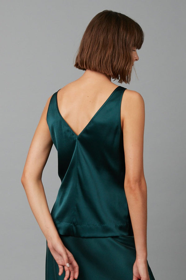 PINE HIRAKI STRETCH-SILK TANK TEE