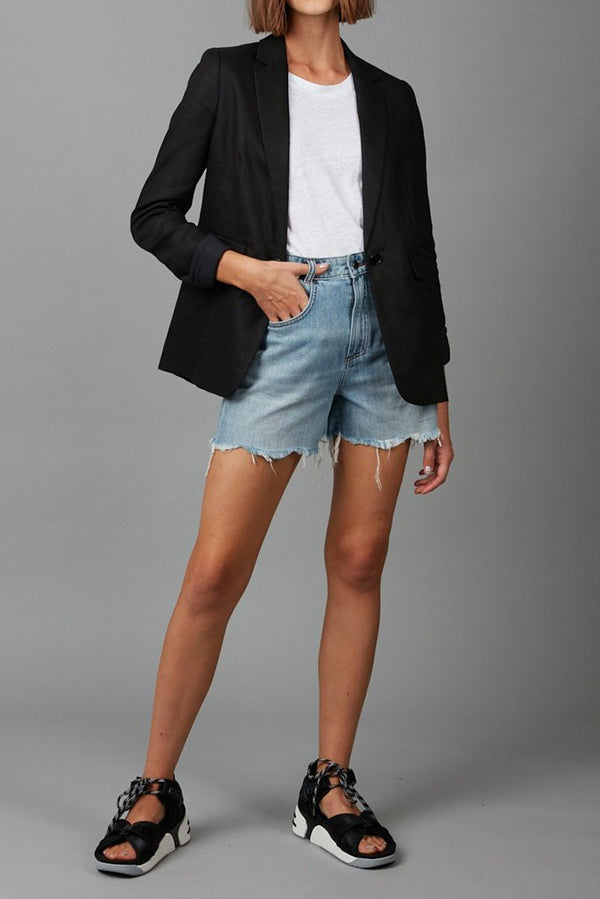 BLACK MIRO TAILORED LINEN JACKET - Nique Clothing