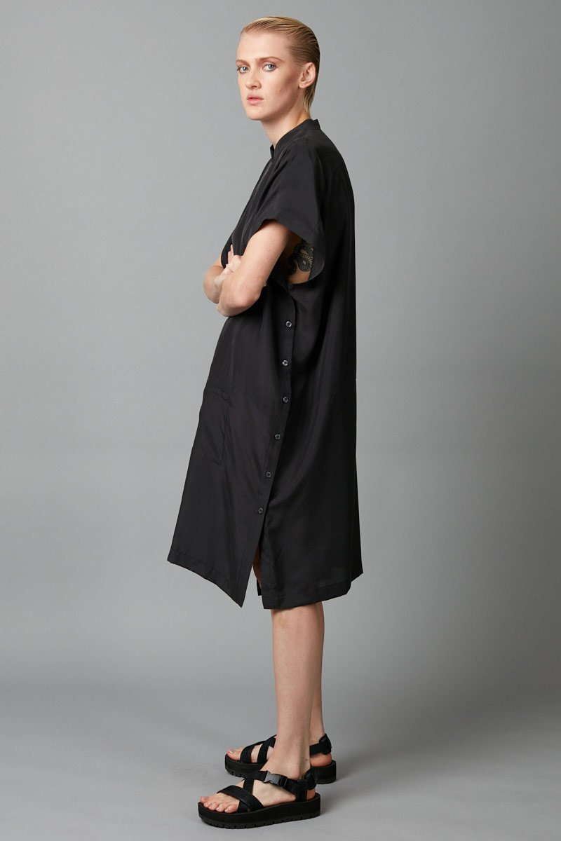 BLACK JUDO SILK SHIRT DRESS