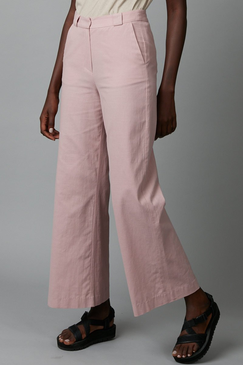 WASHED PINK COTTON RACE PANTS