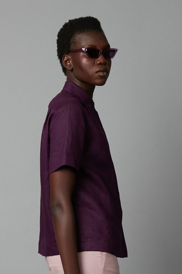 BLACKCURRANT LINEN RACE SHIRT - Nique Clothing