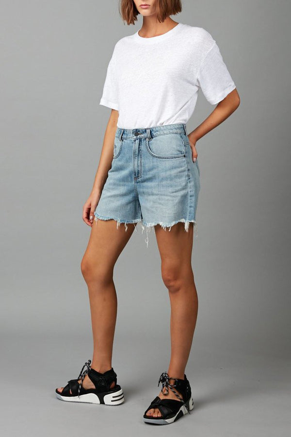 PALE WASH JOJA DISTRESSED DENIM SHORT - Nique Clothing