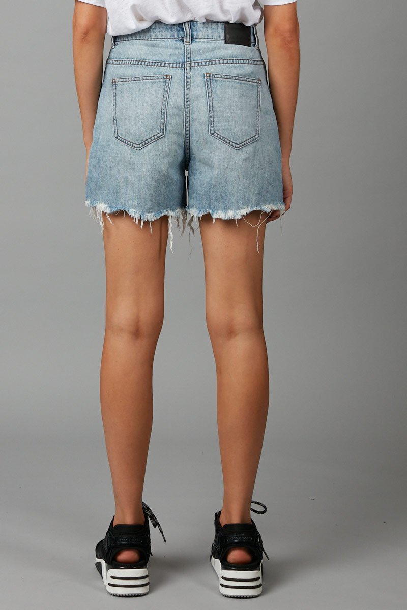 PALE WASH JOJA DISTRESSED DENIM SHORT