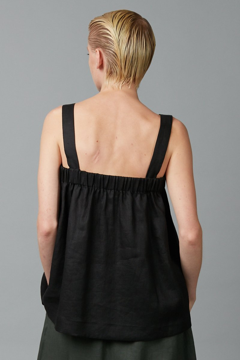 AIMIE BLACK LINEN TOP - Nique Clothing