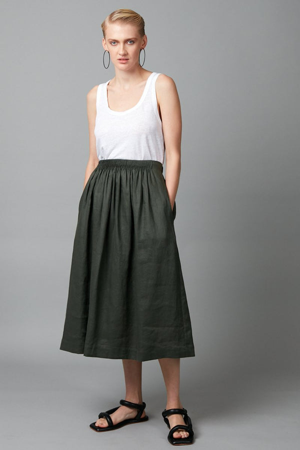 AIMIE KHAKI LINEN MIDI SKIRT - Nique Clothing