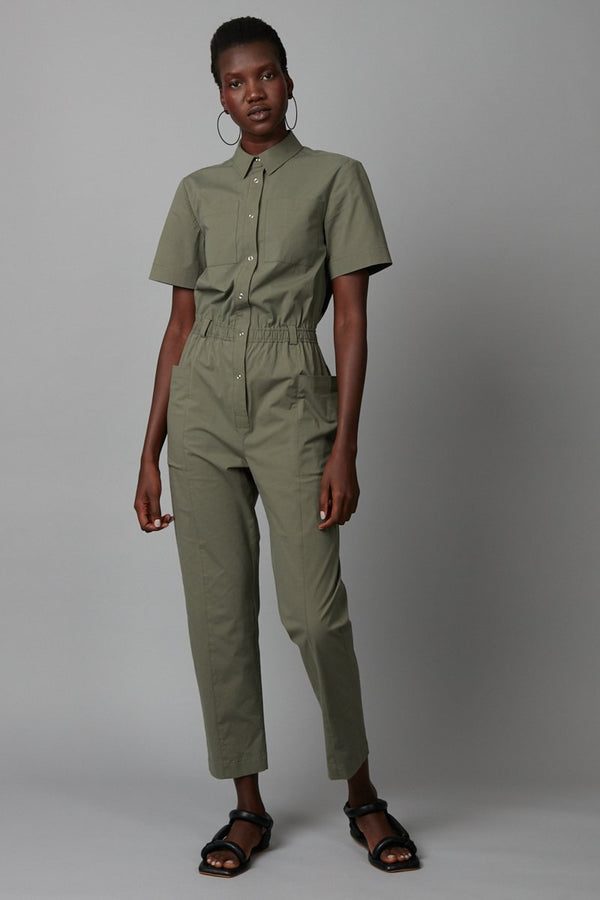 KHAKI DACHI COTTON JUMPSUIT - Nique Clothing