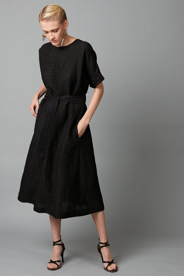 BLACK FUMIKO LINEN BLEND MIDI DRESS - Nique Clothing