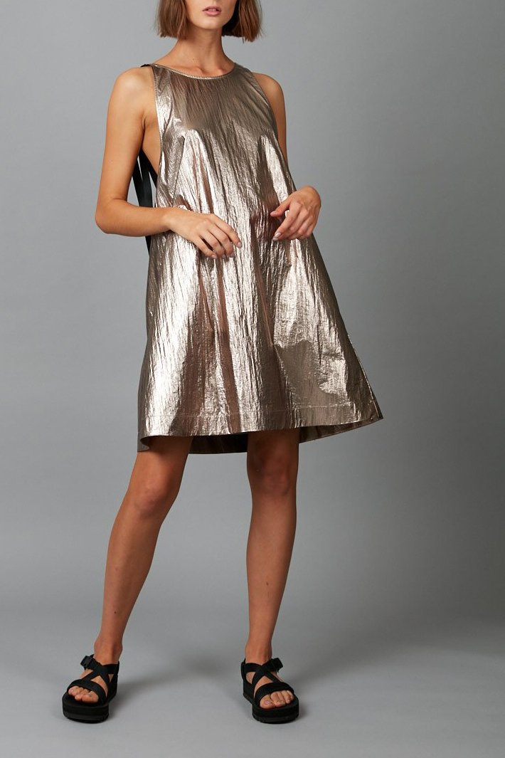 ROSE BRONZE METALLIC NINO MINI DRESS - Nique Clothing